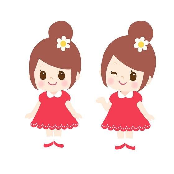 双子の女の子のイラスト