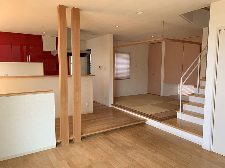 木造自由設計住宅のリビング